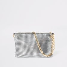Shop River Island Womens Silver chainmail underarm bag and more