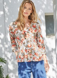 Shop Rosemary Blouse Khaki & Rose Bloom and more