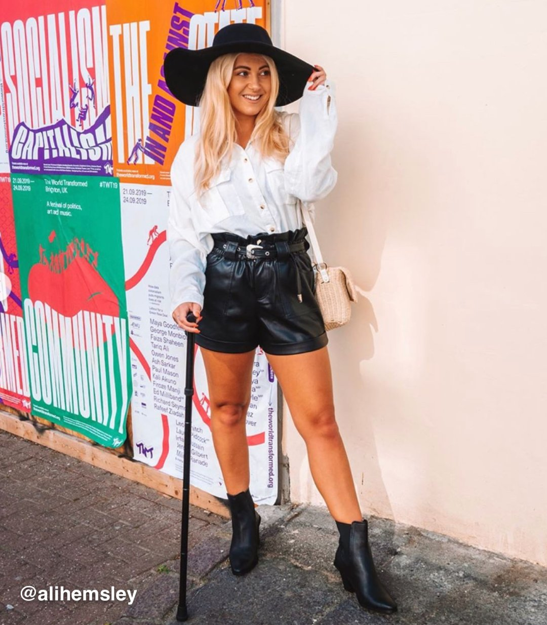 Shop River Island Womens Black belted faux leather Mom shorts, River Island Womens White western fringe long sleeve shirt, River Island Womens Black PU band fedora hat, River Island Womens Black leather western boots and more