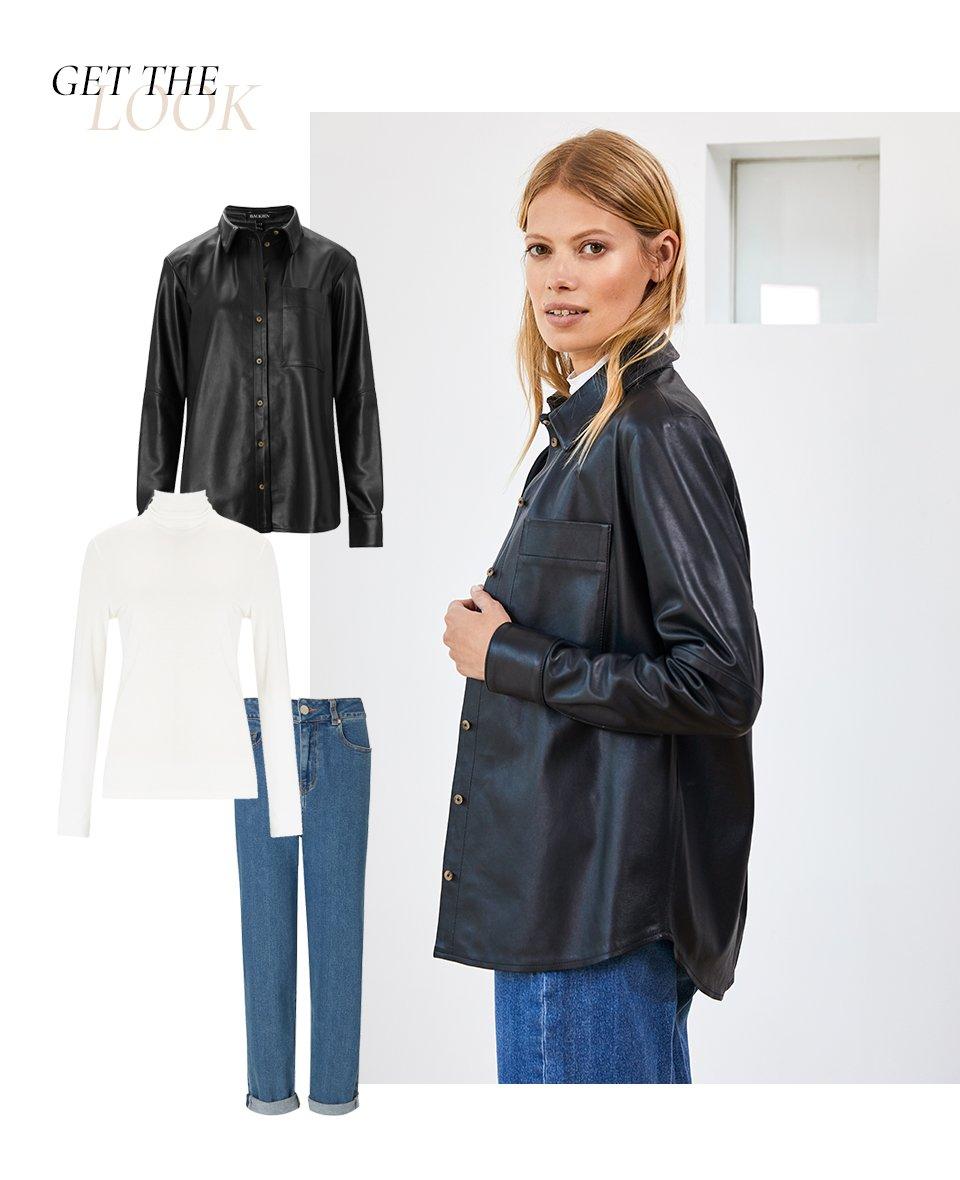 Shop Rachel Leather Shirt Caviar Black, The Relaxed Jean Washed Blue, Baukjen Turtleneck Soft White and more