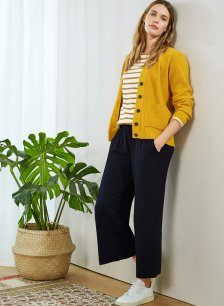 Shop Cropped Palazzo Trouser with LENZING™ ECOVERO™ Classic Navy and more