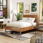Queen-size Mid-century Wooden Paneled Platform Bed (Oak), Brown, I Love Living