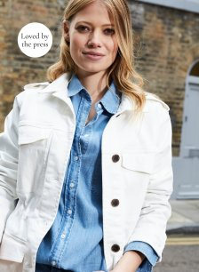Shop Drake Organic Utility Jacket Soft White and more
