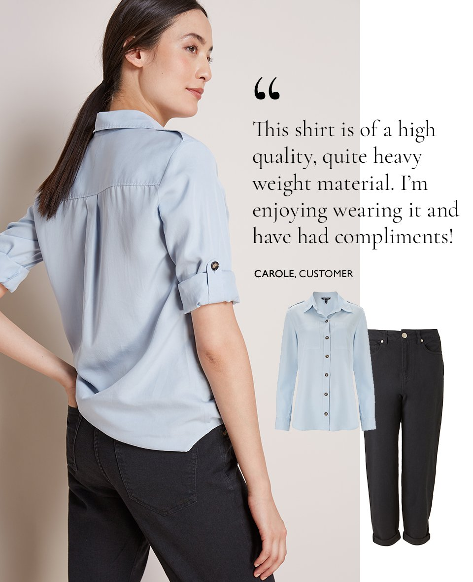 Shop Boyfriend Jean Black Wash, Lindon Safari Shirt Light Blue and more