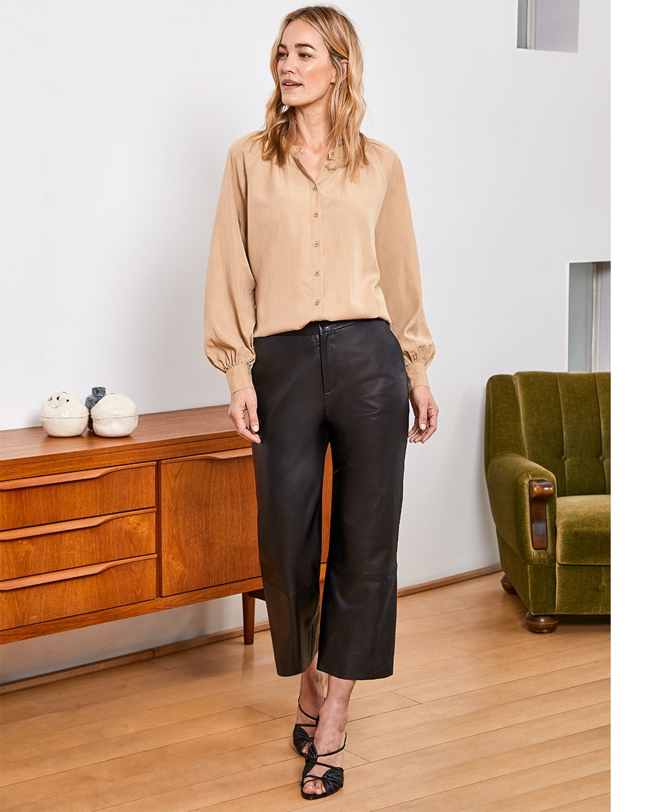 Shop Sacha Leather Trousers Caviar Black and more