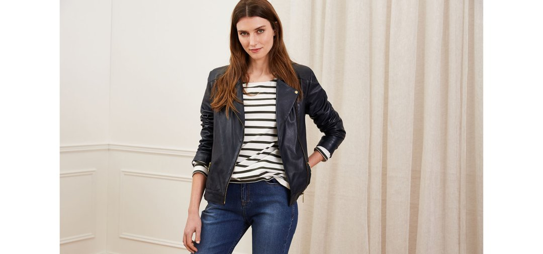 Shop Kara Leather Jacket Classic Navy, Ashley Organic Cotton Top, The Organic Boyfriend Jean Indigo and more