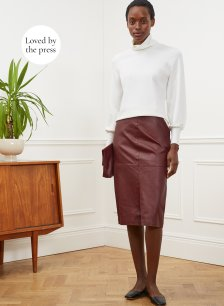 Shop Carmen Leather Skirt Redwood and more