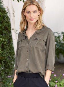 Shop Ellen Safari Shirt Dark Moss and more