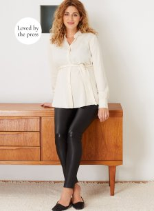 Shop Isabella Oliver Rowsley Maternity Leather Leggings-Caviar Black and more