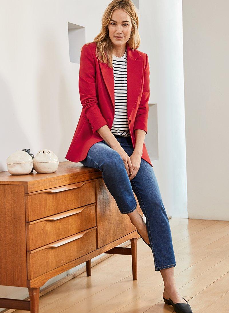 Shop The Organic Boyfriend Jean Washed Indigo, Rio Jacket Crimson Red and more