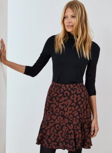 Shop Esmee Skirt Black & Brown Animal and more