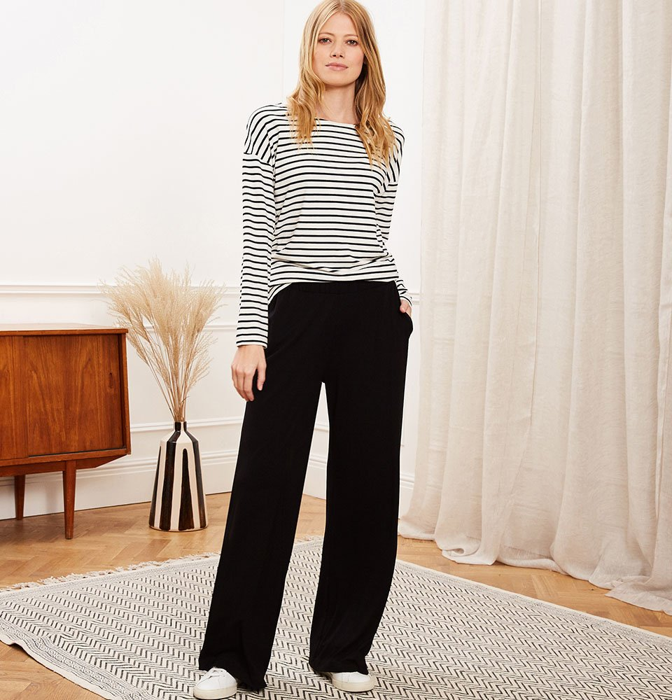 Shop Palazzo Wide Leg Trousers with LENZING™ ECOVERO™ Caviar Black, Hanna Top with LENZING™ ECOVERO™ Soft White & Black Stripe and more