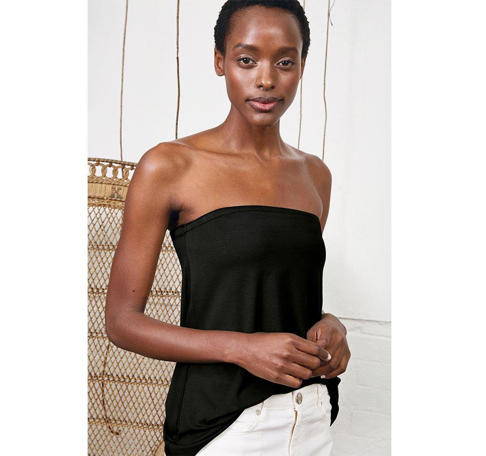 Shop Lily Top with LENZING™ ECOVERO™ Caviar Black, The Organic Boyfriend Jean Off White and more
