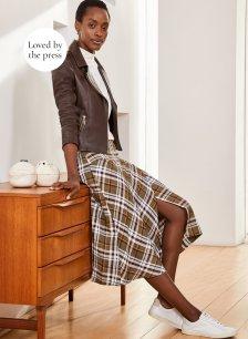 Shop Cynthia Skirt Khaki Check and more
