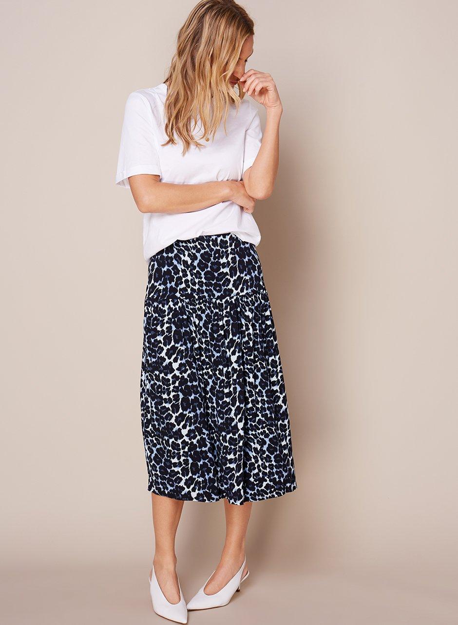 Shop Baukjen Roll Cuff Tee, Ophelia Skirt Blue Leopard Print and more