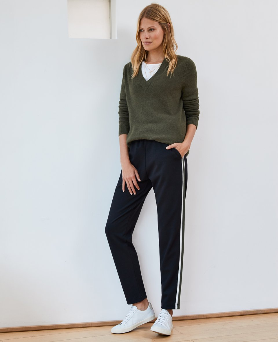 Shop Andrea Jumper Dark Moss, Georgie Pant Black with Soft White & Khaki and more