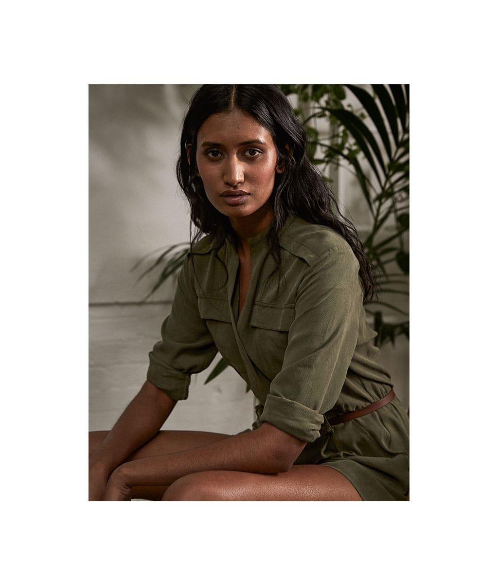 Shop Baukjen Leather Skinny Belt Brown, Priya Lyocell Playsuit Light Khaki and more
