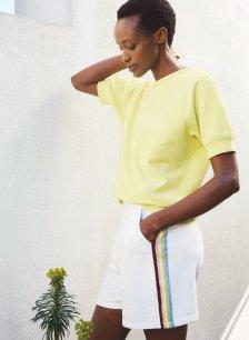 Shop Harmony Organic Shorts Pure White & Rainbow and more
