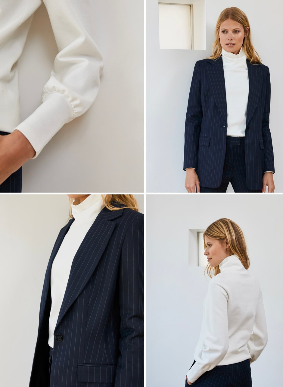 Shop Joelle Top Soft White, Elizabeth Blazer Navy and White Pinstripe, Elizabeth Trouser Navy and White Pinstripe and more