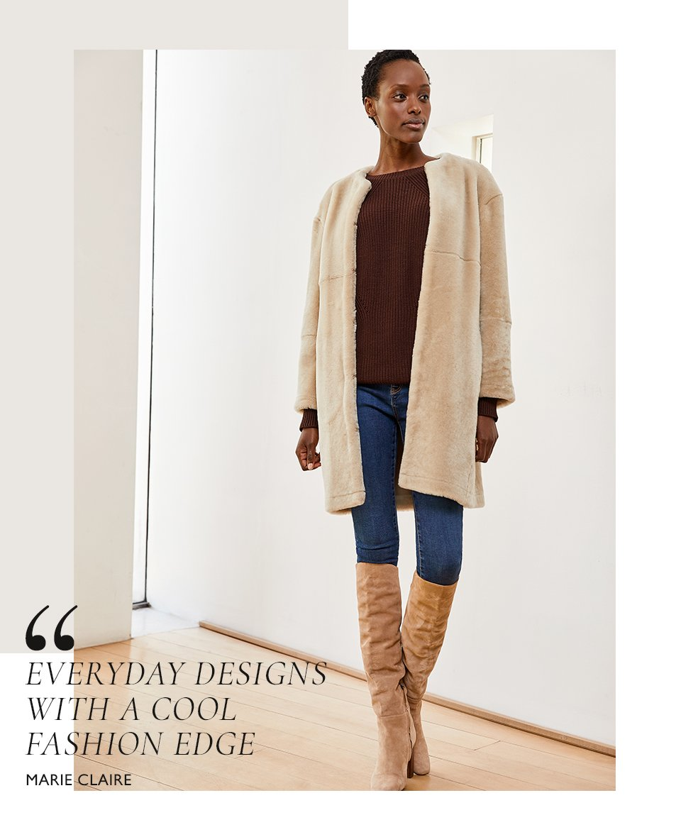 Shop Wren Skinny Jean Indigo, Mila Crew Neck Jumper Dark Chocolate Brown, Shearling Coat and more
