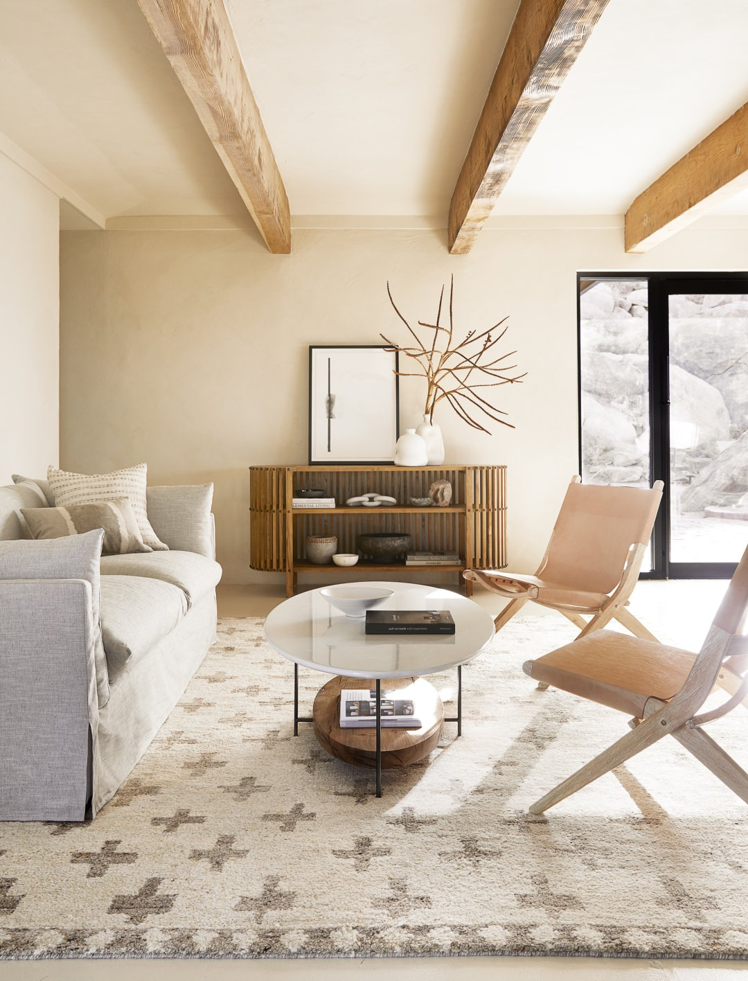 Curalate Reveal: Interactive image with Acoma Rug, Arlen Slipcover Sofa, L...