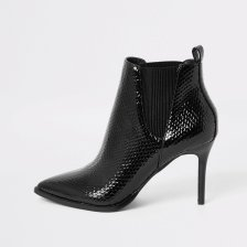 Shop River Island Womens Black wide fit patent pointed toe boots and more