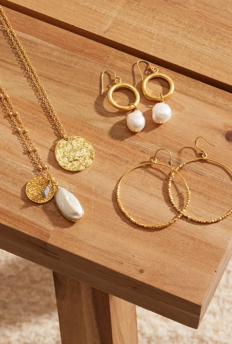 Shop Eloise Earrings Gold, Fleur Necklace Gold, Vivienne Earrings Gold and more