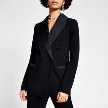 Shop River Island Womens Black double breasted satin lapel blazer and more