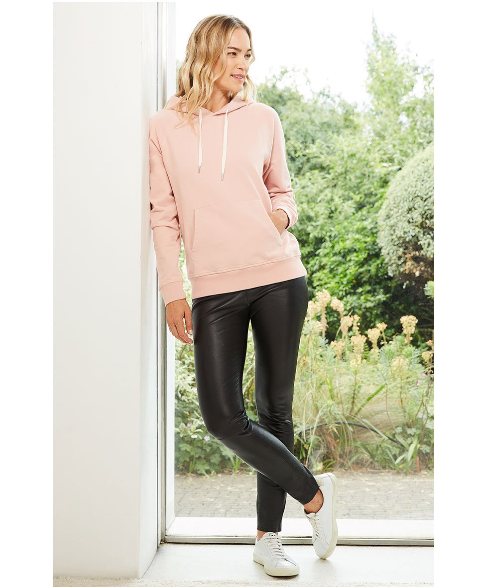 Shop Marte Organic Hoodie Rose, Liv Leather Leggings Caviar Black and more