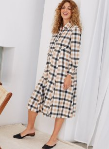 Shop Isabella Oliver Maddison Maternity Dress-Caramel Gingham and more