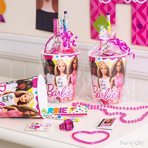 Curated image with 16OZ FAVR CUP BARBIE MLTICLTRL, Small Bright Pink Plastic Treat Bags 25ct, Mag...