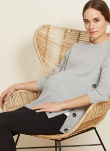Shop Isabella Oliver Bryony Maternity Button Knit-Light Grey Marl and more