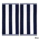 "Miranda Haus Oversized Cabana Stripe Cotton Jacquard Beach Towel (Set of 2) - 34"" x 64"" each"