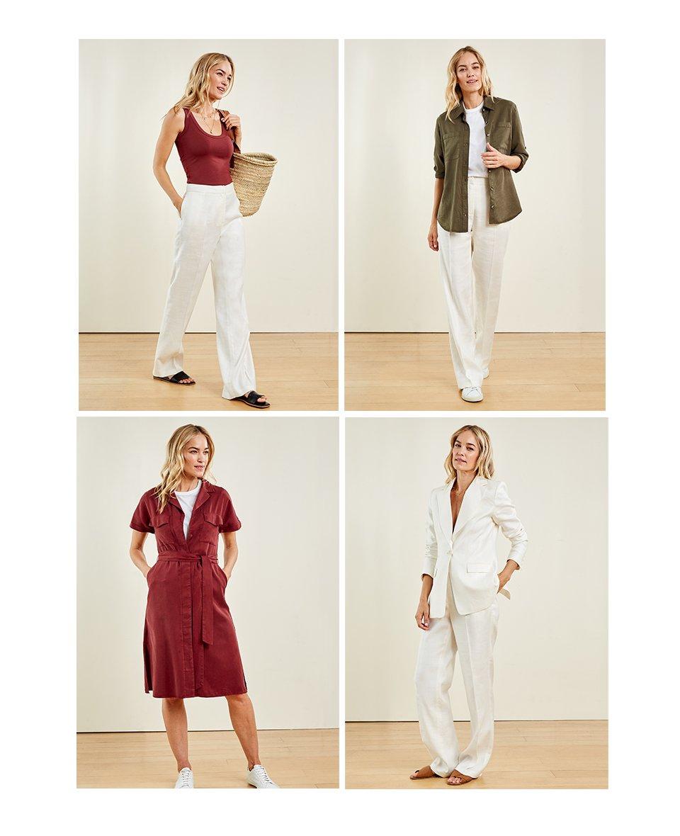 Shop Lindon Tencel™ Safari Shirt Dark Khaki, Brenna Top Carob and more