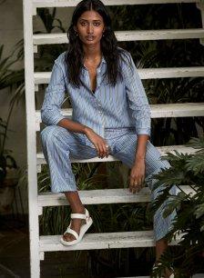 Shop Frida Tencel™ Trouser Blue Deck Stripe Print and more