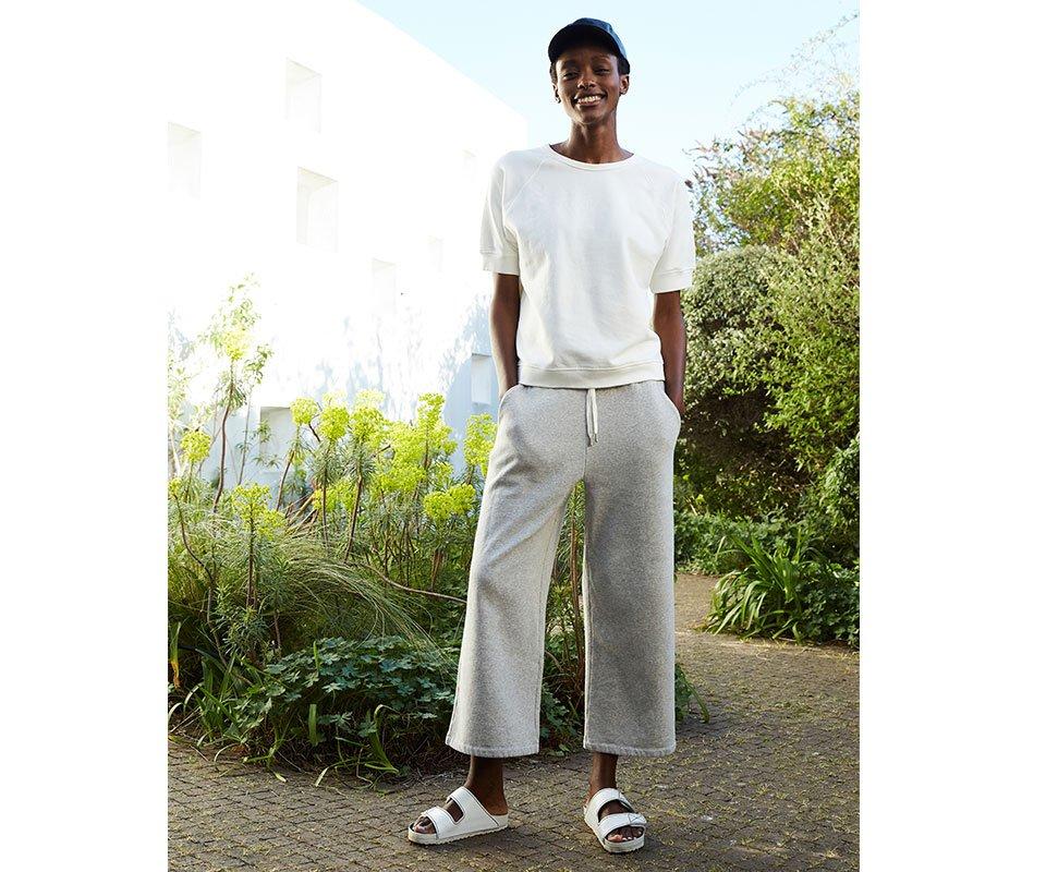 Shop Lara Organic Top Pure White, Indi Organic Pant Ash Marl and more
