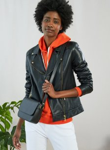 Shop Kara Leather Jacket Caviar Black and more