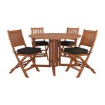CorLiving Miramar Natural Hardwood Outdoor Folding Dining Set, 5pc