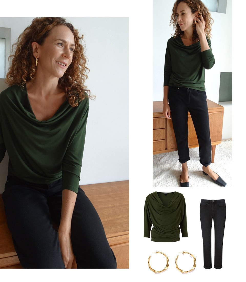 Shop Aria Ecovero™ Top Dark Khaki, The Boyfriend Jean Black Wash, Sicily Earrings Gold and more