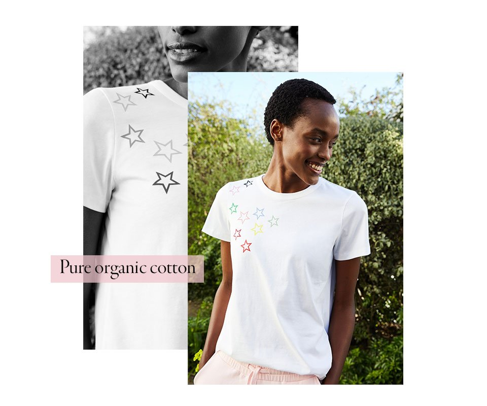 Shop Jenna Organic Top Pure White, Brooklyn Organic Jogger Chiffon Pink and more