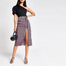 Shop River Island Womens Pink dogtooth check midi skirt and more