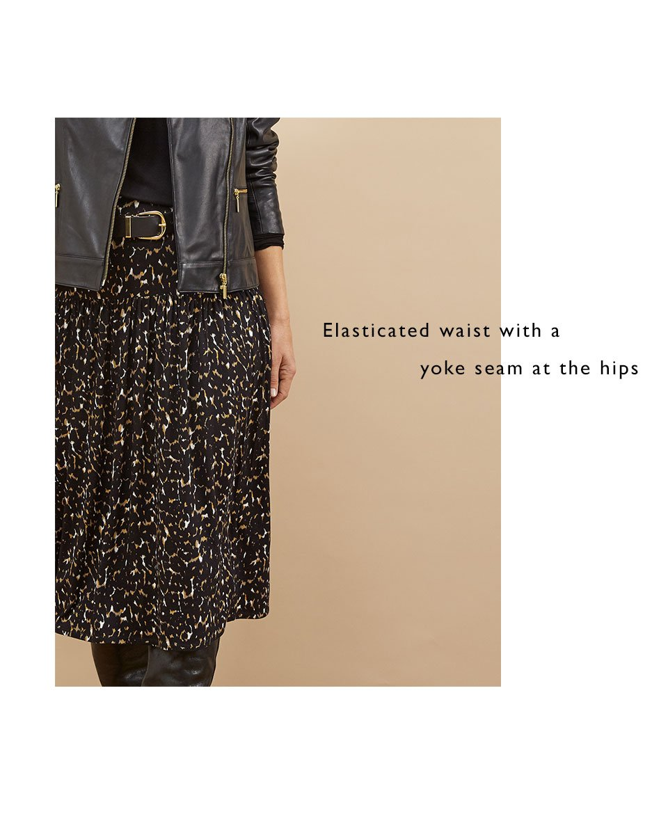 Shop Autumn Ecovero™ Skirt, Kara Leather Jacket Caviar Black, Baukjen Signature Gold Buckle Belt Caviar Black and more