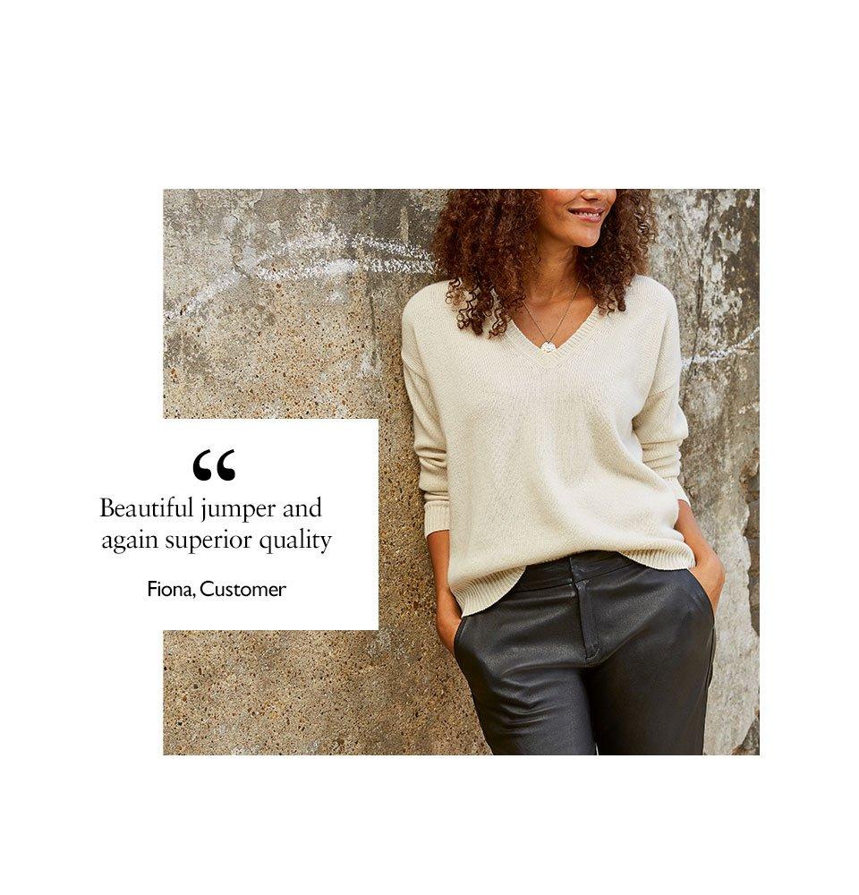 Shop Darcy Eco Cashmere V-Neck Jumper Winter White, Raven Leather Trouser Caviar Black and more