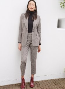Shop Delilah Trouser Brown Tonal Check and more