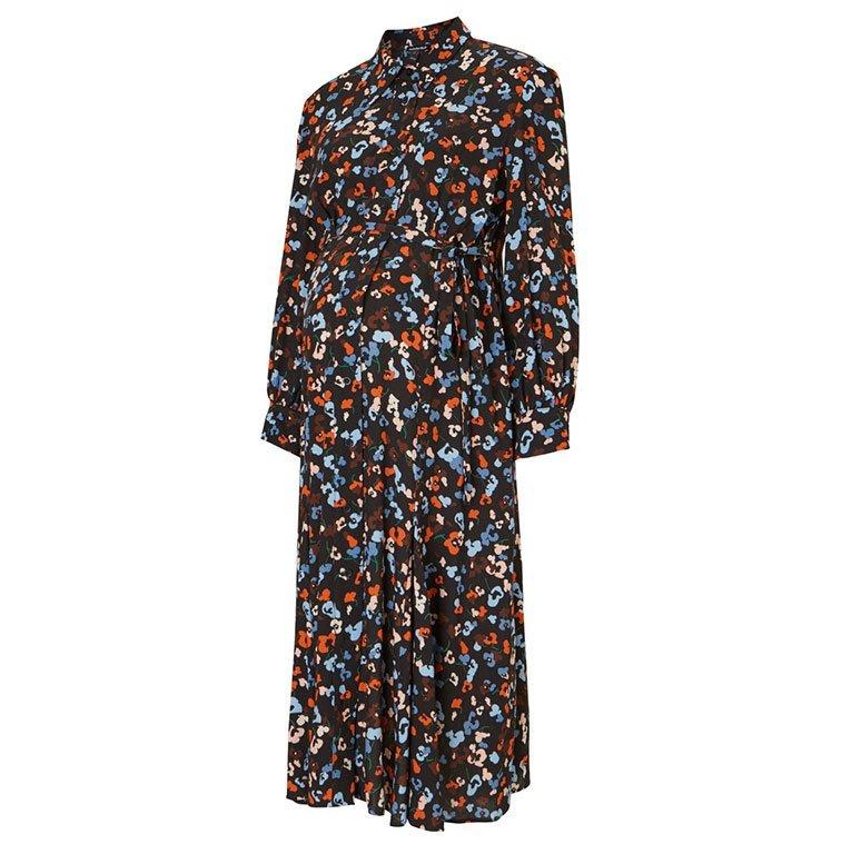 Shop Isabella Oliver Cecelia Maternity Shirt Dress-Black Floral Print and more
