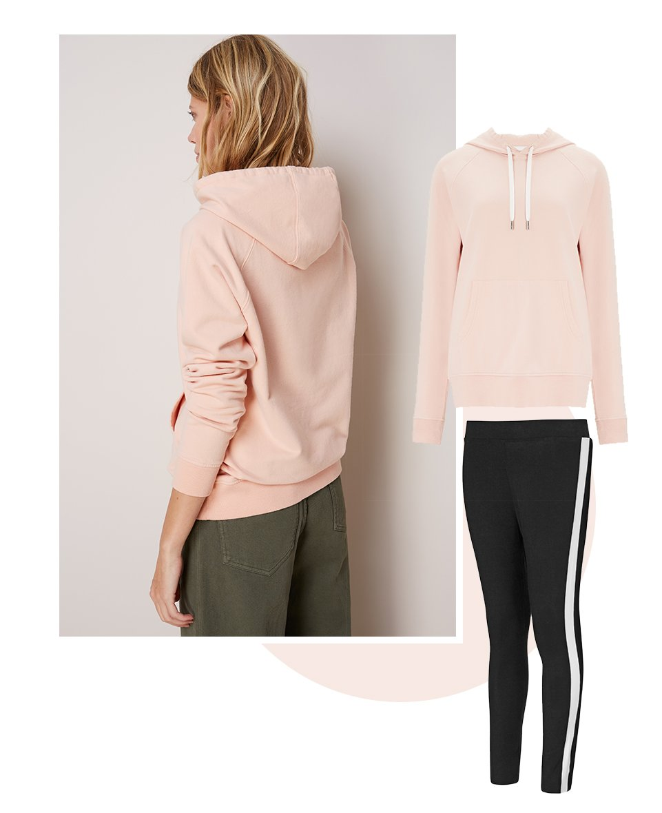 Shop Marte Hoodie Light Peach, Jayde Leggings Caviar Black with Soft White and more