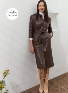 Shop Rachel Leather Shirt Dress Dark Chocolate Brown and more