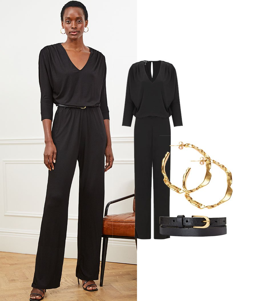 Shop Rosalind Ecovero™ Jumpsuit Caviar Black, Baukjen Leather Skinny Belt Caviar Black, Sicily Earrings Gold and more
