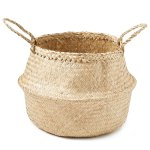 """Americanflat Hand Woven Palm and Seagrass Belly Basket in Walnut Eco Friendly - Diameter 13"""" and Tall 10"""""""