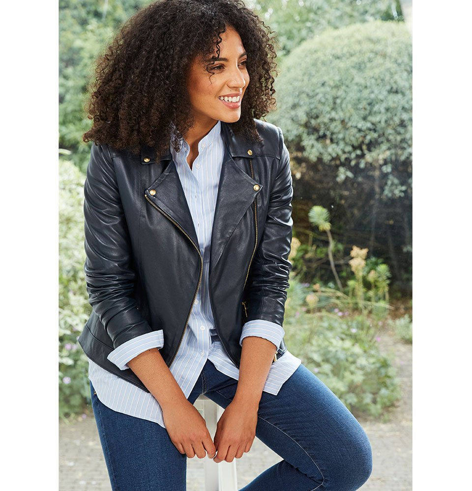 Shop Kara Leather Jacket Classic Navy, Wren Recycled Skinny Jean Dark Indigo, Alex Shirt Light Blue & White Stripe and more